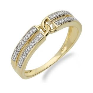 Pierścionek zaręczynowy z diamentami nr KU 107420, 14 karat motyw Line