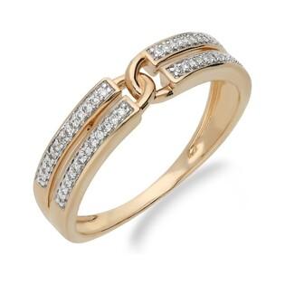 Pierścionek zaręczynowy z diamentami nr 107420 różowe złoto, 14 karat motyw Line