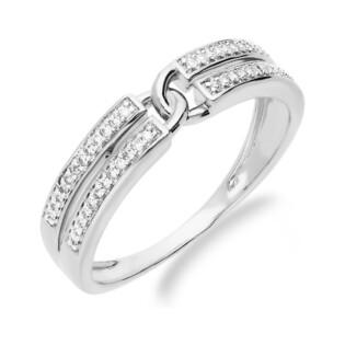 Pierścionek zaręczynowy z diamentami nr 107420 białe złoto, 14 karat motyw Line