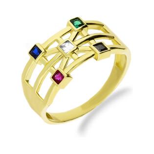 Pierścionek złoty z kolorowymi cyrkoniami nr LP 34U20-RSG 1438-Y próba 375 SOLITER