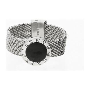 Pierścionek srebrny kalendarz z czarną emalią nr A0232 próba 925