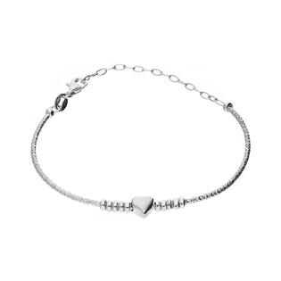 Bransoleta srebrna bangle grawerowana z kulkami i sercem nr NI438 próba 925