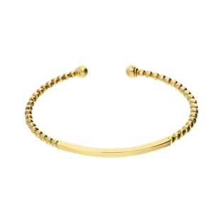 Bransoleta srebrna pozłacana bangle kulki z blaszką nr LO026 GOLD próba 925