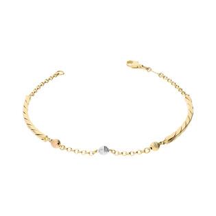 Bransoleta złota z blaszką i kulkami nr AR XXCABLE10N-200082-TC-MDC próba 585
