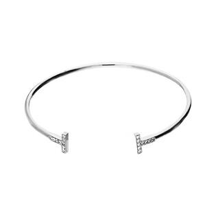 Bransoleta srebrna bangle z motywem T i cyrkoniami nr OA H0390 próba 925