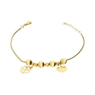 Bransoleta złota z kulkami, sercem i koniczyną nr PW PGL67B próba 585