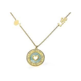 Naszyjnik srebrny Ag 925 pozłacany life z sercem w masie perłowej CLT9632 GOLD