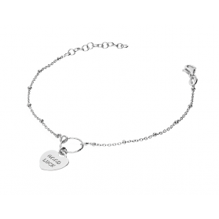 Bransoletka srebrna GOOD LUCK w sercu+koło nr NI467 próba 925