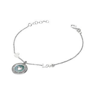 Bransoleta srebrna koło z masą perłową i sercem nr LOVE TA BRT9030 próba 925