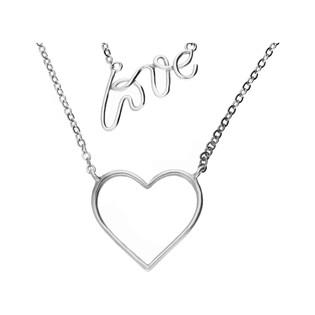 Naszyjnik srebrny podwójny nr  JA serce+napis próba 925