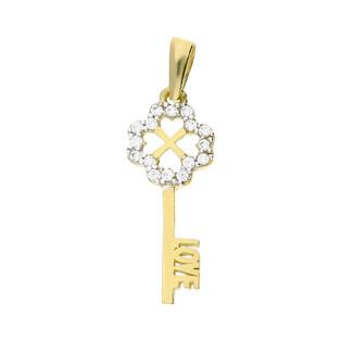 Zawieszka złota klucz z cyrkoniami i napisem Love nr MZ T23-P-1150-YW-CZ próba 585
