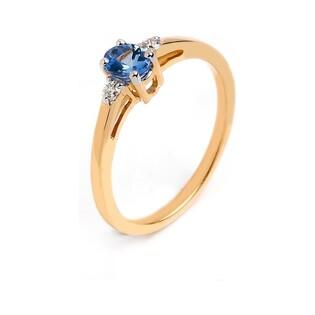 Pierścionek zaręczynowy z diamentami i tanzanitem RQ 51MCY78-TZ owal próba 585 LAUREL
