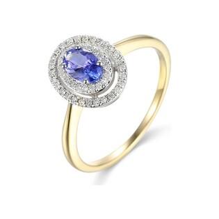 Pierścionek zaręczynowy z diamentami i tanzanitem AW 46247 Y-TA owalpróba 585