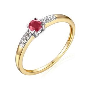 Pierścionek rubin 0,24ct+bryl 0,06ct AW 30620 YW-RU okr.Line 2r próba 585