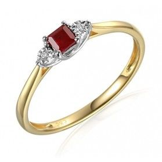 Pierścionek rubin 0,22ct+bryl.0,01ct AW 70387 YW-RU kwadrat próba 585