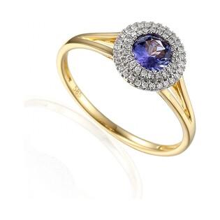 Pierścionek złoty zaręczynowy z diamentami i tanzanitem nr AW 57736 YW-TA Markiza