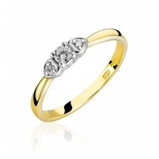 Pierścionek złoty z diamentami SOLITER RS0264 serca na obrączce próba 585