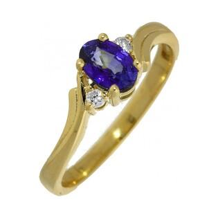 Pierścionek zaręczynowy z diamentami i tanzanitem MC G658 próba 585 LAUREL