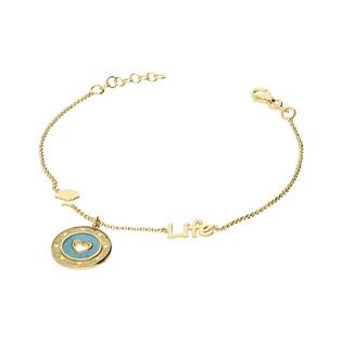Bransoleta srebrna pozłacana serce w zielonej masie perłowej nr TA BRT9028 GOLD próba 925