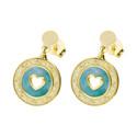 Kolczyki srebrne pozłacane serce w zielonej masie perłowej/sztyft nr TA ORT7426 GOLD próba 925
