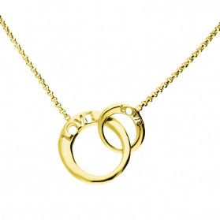 Naszyjnik srebrny pozłacany klanówka kółko LOVE/rolo nr. TA CLT10185 GOLD próba 925