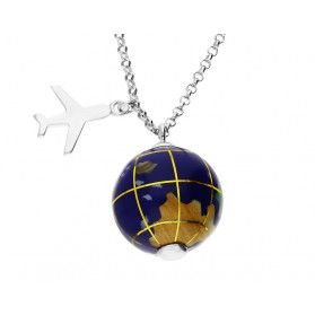 Naszyjnik World of Love+samolot/rolo CP NPB96040 globus kam.naturalne próba 925