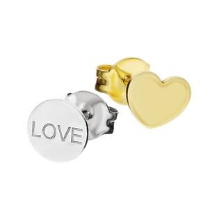 Kolczyki serce gold+kółko LOVE/sztyft TA ORT7590 próba 925