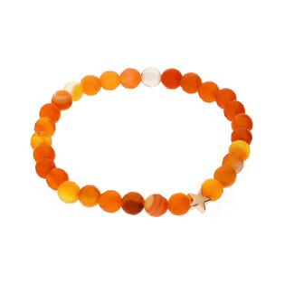 Bransoleta agat pomarańczowy 6mm MD02F+element pomarańczowy próba 925