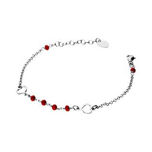 Bransoleta srebrna z czerwonymi kulkami i sercami nr. NI622 próba 925