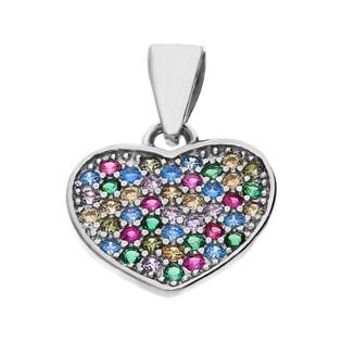 Zawieszka w kształcie serca z kolorowymi cyrkoniami nr HS386 próba 925