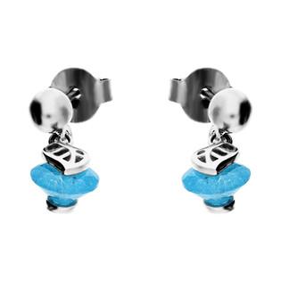 Kolczyki srebrne z niebieskim kamieniem i listkiem nr TB 09850a próba 925