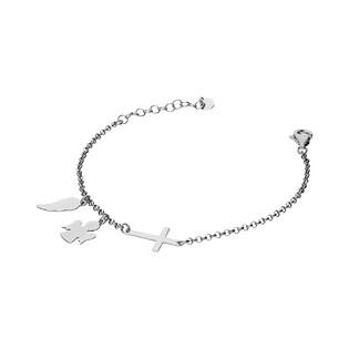 Bransoletka srebrna krzyż bokiem+anioł+skrzydło nr NI313 próba 925