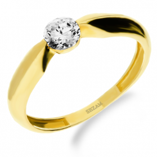 Pierścionek złoty z cyrkonią w szynie GR LP 31U06-DSR0050-Y-CZ próba 375