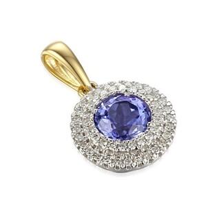 Zawieszka złota z diamentami i tanzanitem nr AW 57736 YW-TA okr.Markiza 2r