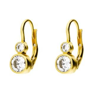 Kolczyki złote z cyrkonią w gładkiej oprawie/bigiel zam nr. OS 96-5423-BO próba 585