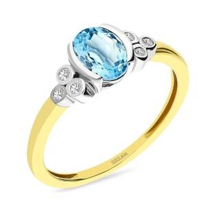 Pierścionek zaręczynowy z topazem w towarzystwie diamentów nr RSV0274