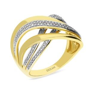Pierścionek zaręczynowy przeplatany z diamentami nr AW 67880