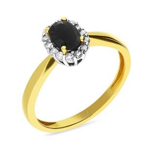 Pierścionek zaręczynowy z szafirem w towarzystwie diamentów nr VE 3197 szafir owal MARKIZA
