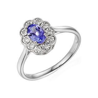Pierścionek zareczynowy z diamentami i tanzanitem nr. AW 63665 W-TA KATE Magic b.złoto próba 585