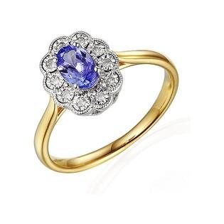 Pierścionek zareczynowy z diamentami i tanzanitem nr. AW 63665 YW-TA KATE Magic próba 585