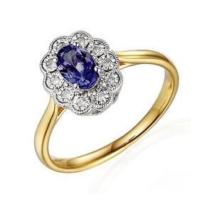 Pierścionek zaręczynowy z diamentami i szafir mr. AW 63665 YW-SA KATE Magic próba 585