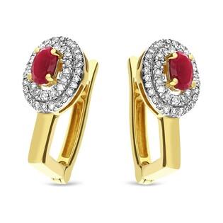 Kolczyki złote z rubienm i diamentami nr KU 607-509 RB Y