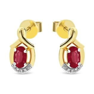 Kolczyki złote z rubinem i diamentami nr AW 55256 Y-RU