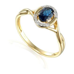Pierścionek zaręczynowy z diamentami i szafirem nr. AW 55256 Y-SA owal ramka próba 585