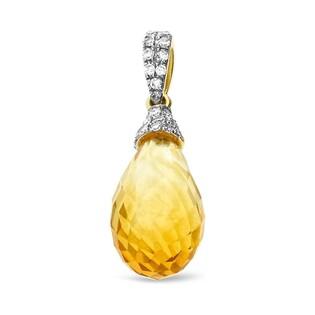 Zawieszka złota z cytrynem i diamentami nr AW 32299 Y5