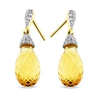 Kolczyki złote z cytrynem i diamentami nr AW 32299 Y5