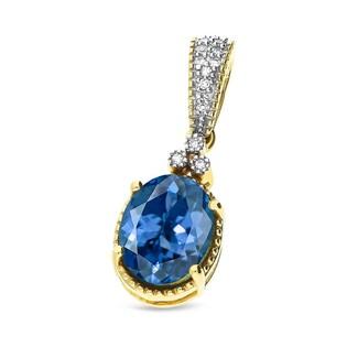 Zawieszka złota z topazem London i diamentami nr KU 4634-7000 LBT próba 585