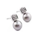 Kolczyki złote z diamentami i perła nr BU 350293-320277 próba 585