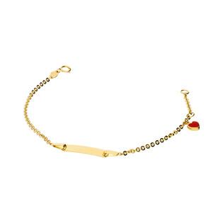 Bransoleta dziecięca złota z blaszką i sercem nr. AR X3FOR2B4810-1 próba 585