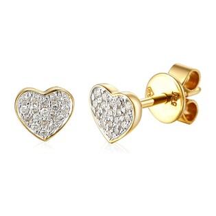 Kolczyki złote z diamentami w kształcie serc AW 66698 Y-05794 Y próba 585